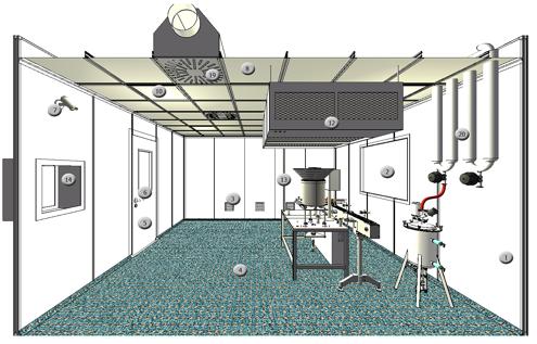 Чистое помещение с размещенным в нем оборудованием